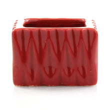 Square red small ceramic planter pot for small indoor plants