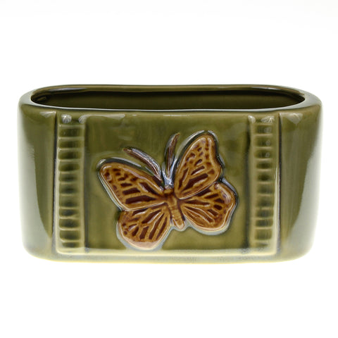 Rectangle Green Butterfly Pot