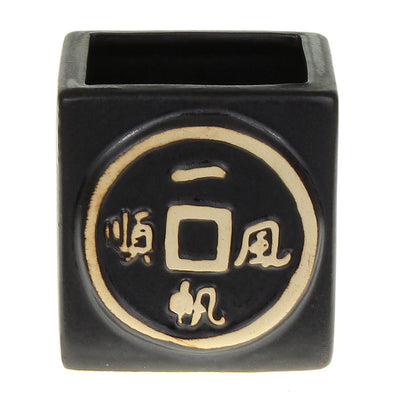 Ceramic square black asian design planter pot for lucky bamboo