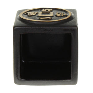 Ceramic square black asian design planter pot for lucky bamboo inside view
