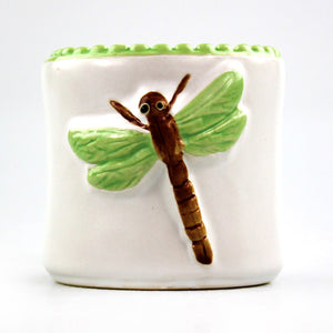 Lucky bamboo five stalk bundle in red dragonfly ceramic pot
