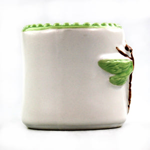 Ceramic red dragonfly design lucky bamboo planter pot