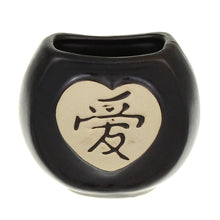 Heart shaped black ceramic pot for lucky bamboo stalks