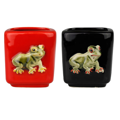 Square Frog Design Planter Pot - 2 Colors to Choose From