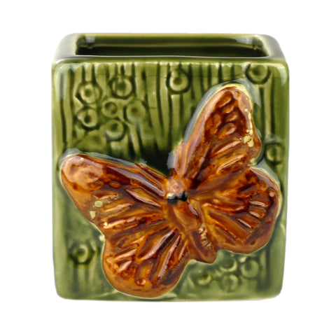 Green Square Butterfly Design Planter Pot