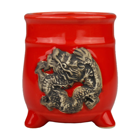 Red Ceramic Dragon Design Standing Planter