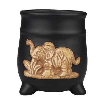 Black Ceramic Elephant Design Standing Planter