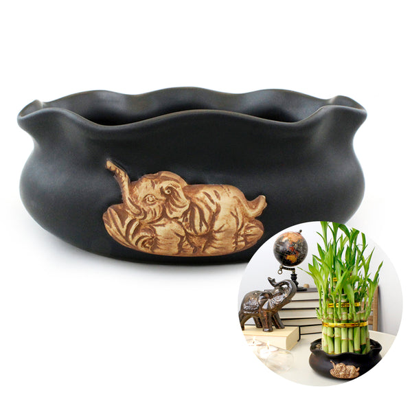Black Matte Ceramic Elephant Planter Pot