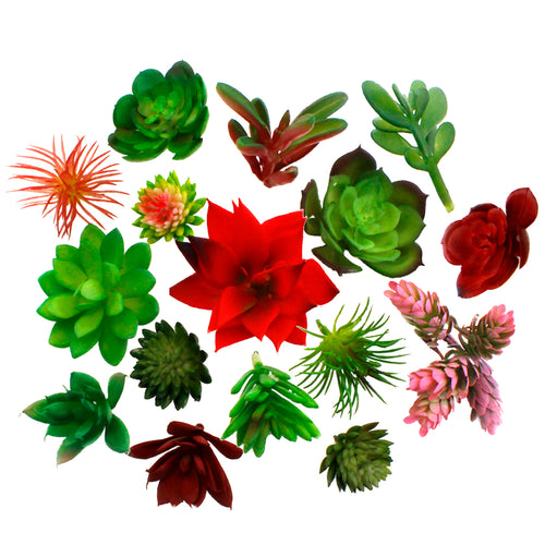 16 Pcs Unpotted Colorful Artificial Succulents