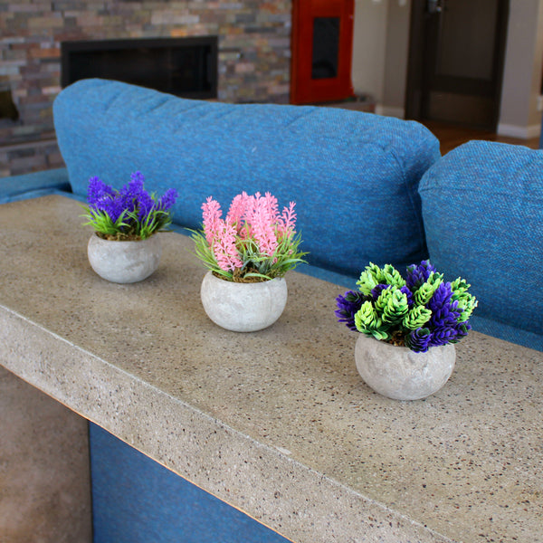 Set of 3 Potted Faux Flowers - Pink, Purple, & Green