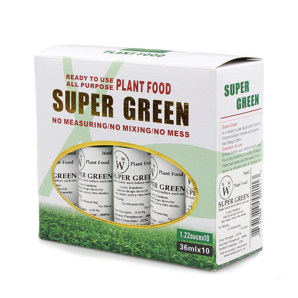 Ten bottles of super green lucky bamboo plant food