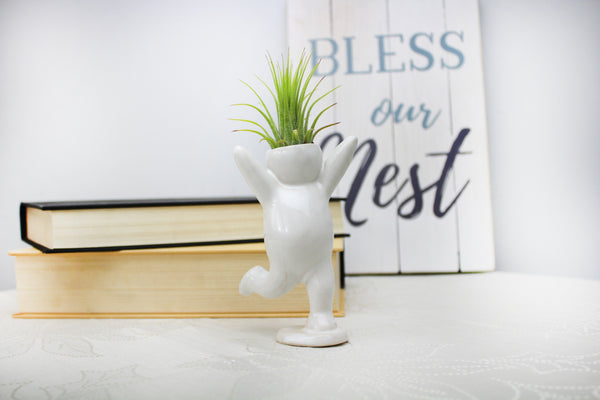 """Happy Cheering Person"" Air Head White Ceramic Pot - Air Plant Holder, Succulent, Cactus Planter"