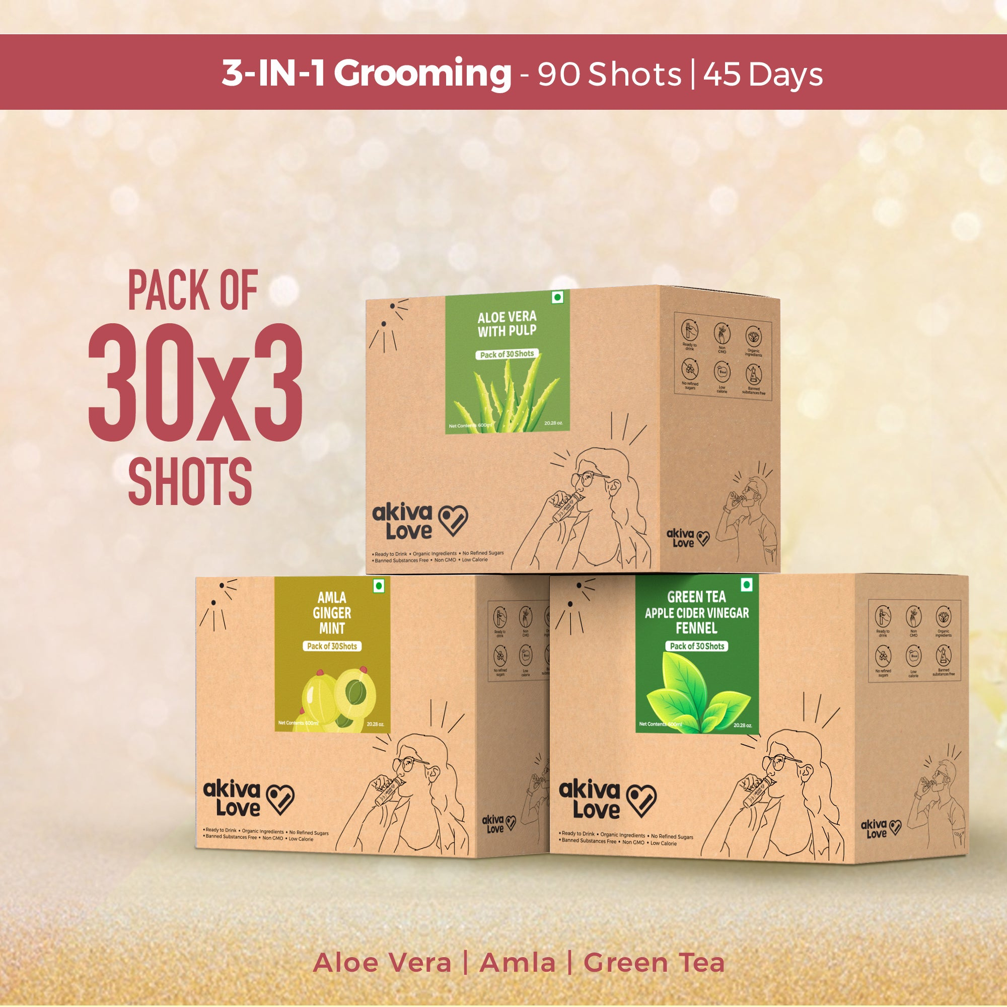 3-in-1 Grooming Pack - Amla + Aloe Vera + Green Tea Apple Cider Vinegar | 90 shots | 45 Days |