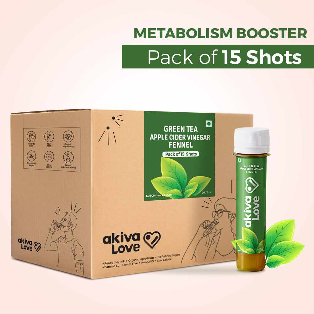 Green Tea Apple Cider Vinegar Fennel Metabolism Booster Shots - Pack of 15