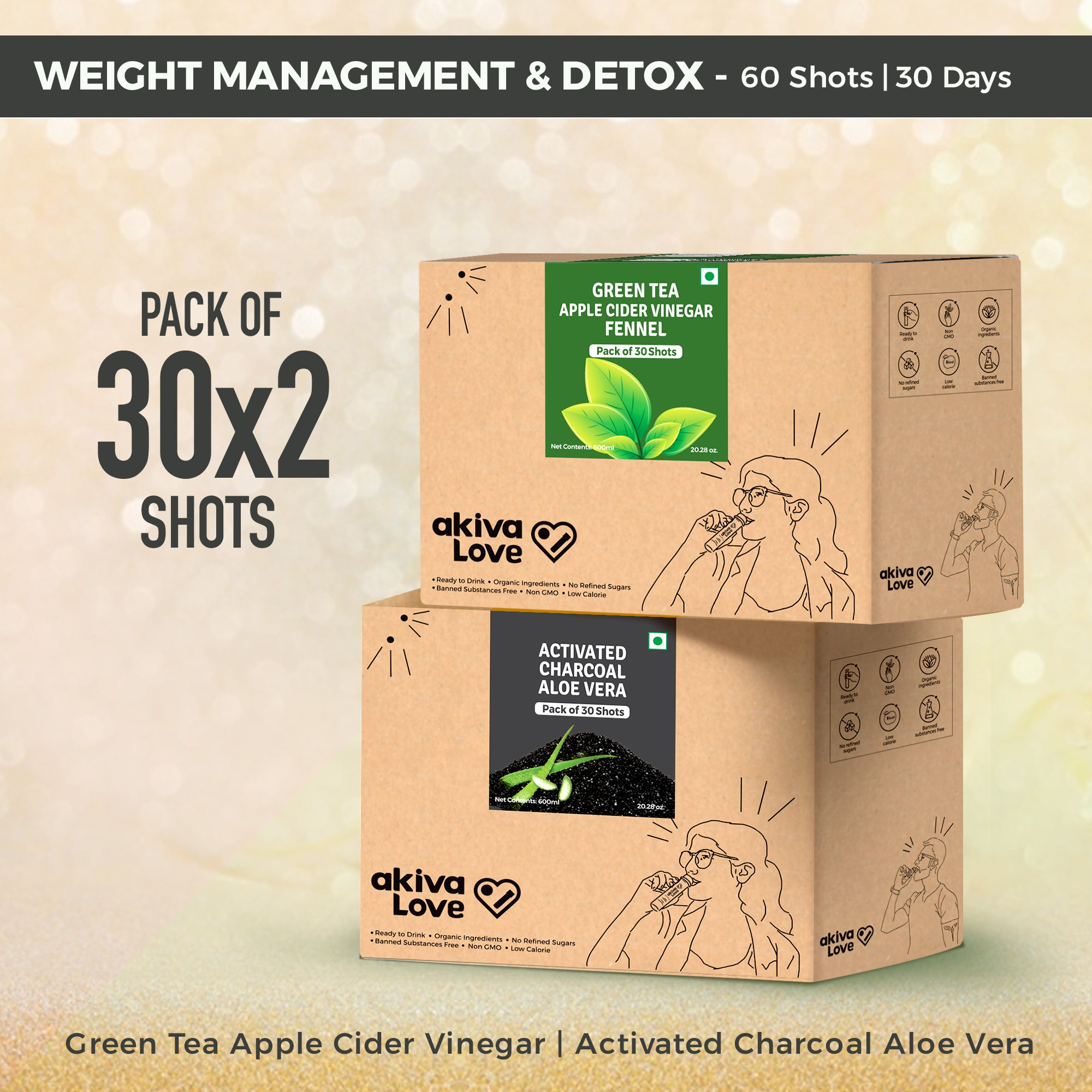 Weight Management & Detox Pack - 60 Shots | 30 days Green Tea Apple Cider Vinegar Fennel Shots + Activated Charcoal Aloe Vera Shots