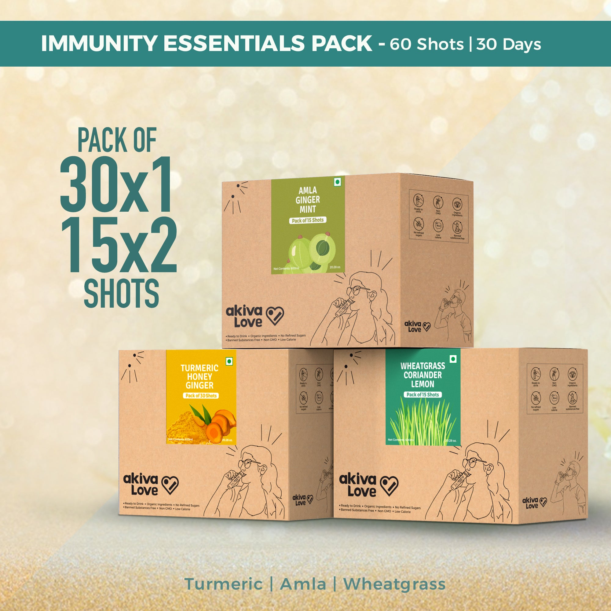 Immunity Essentials Pack - 60 shots | 30 days | Turmeric + Amla + Wheatgrass