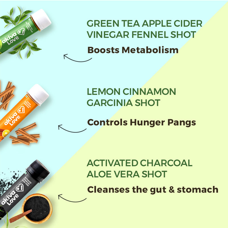 Weight Management and Detox Pack Plus - 90 shots | 30 days | Green Tea Apple Cider Vinegar + Activated Charcoal Aloe Vera + Lemon Cinnamon Garcinia