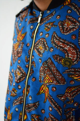 Blue Galore Afro print Bomber