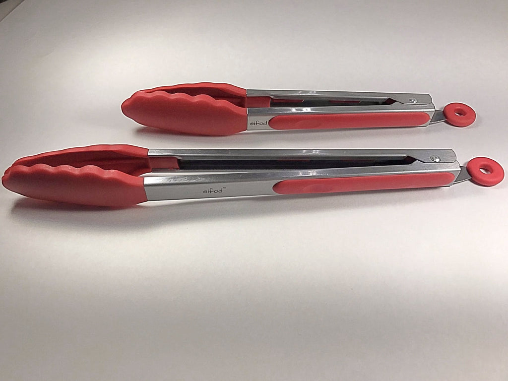 Eifod™ 2-Piece Stainless Steel Silicone Tongs BBQ Salad Tools Cooking Utensils
