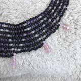 Woven Pendant Necklace in Pink & Black