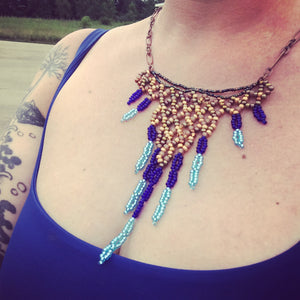 Bib Necklace: Blue and Gold