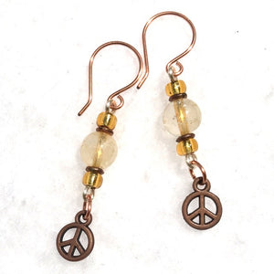Citrine & Copper Peace Sign Earrings