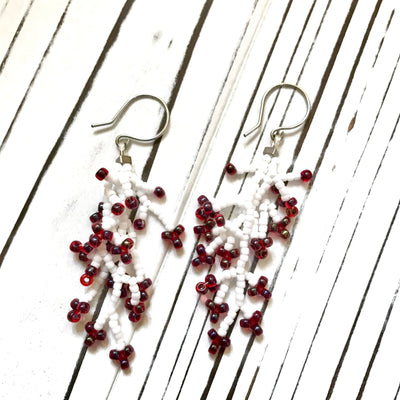 Coral Earrings: White Red