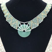 Woven Pendent Necklace in Green & Gold