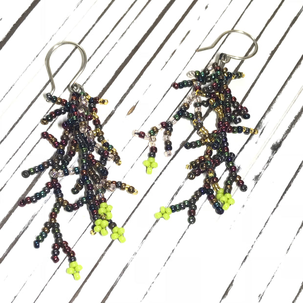 Coral Earrings: Metallic Green