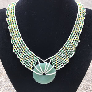 Adventurine Donut Stone Pendant and Woven Bib Necklace