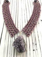 Pendant Necklace: Woven in Amethyst