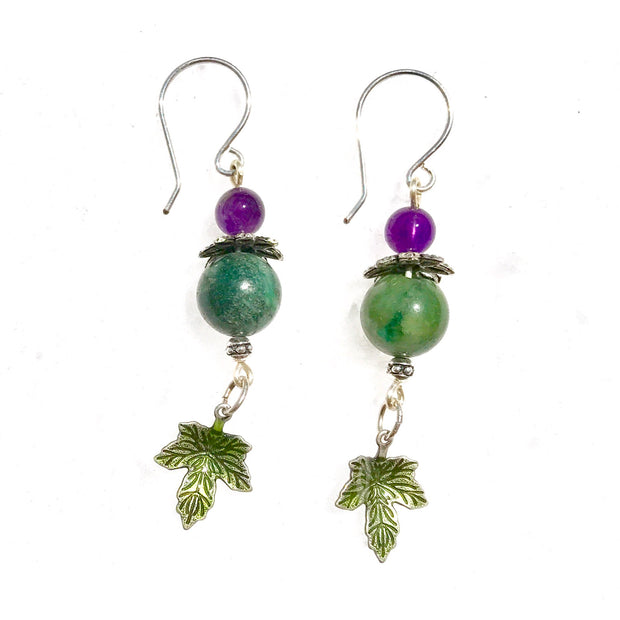 Purple Amethyst BeLeaf Gemstone Earrings