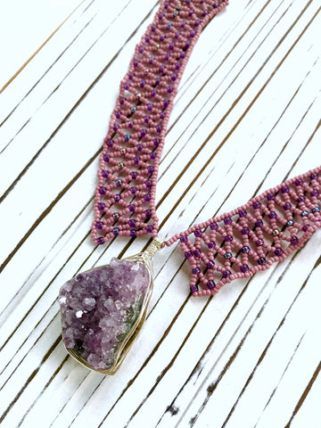 Woven Pendent Necklace in Amethyst