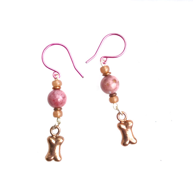 Pink Agate dog bone earrings