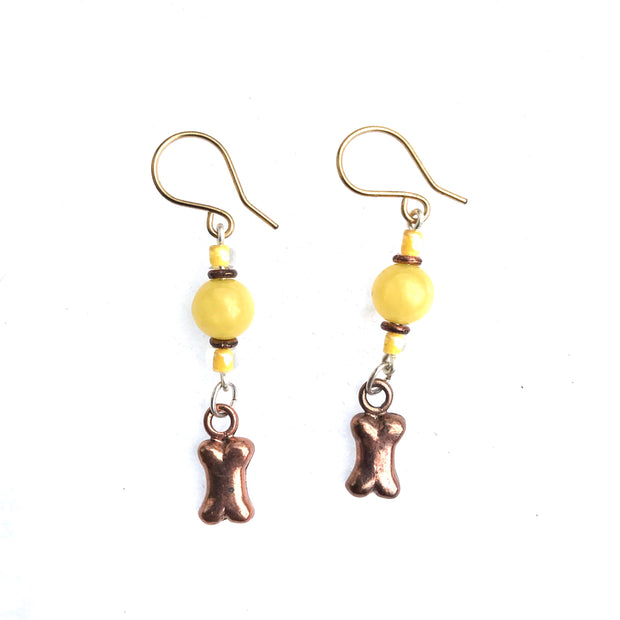 Yellow Jade dog bone earrings