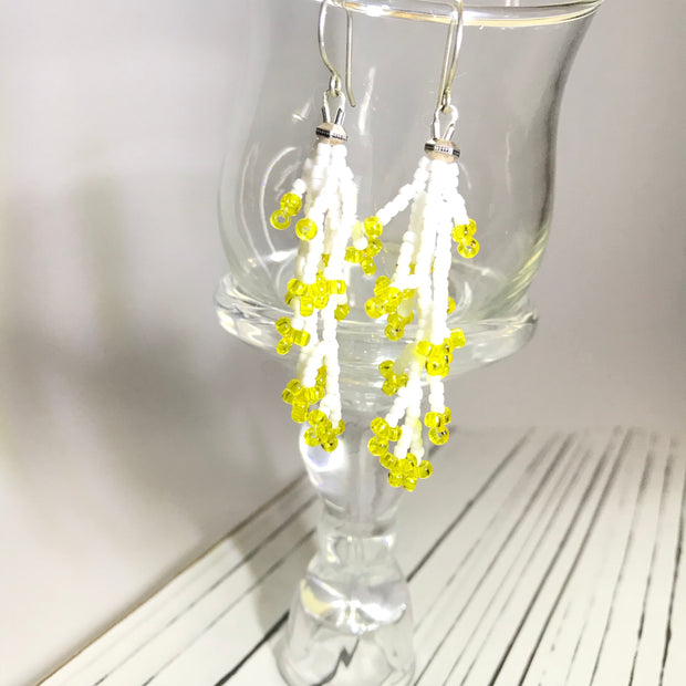Coral Earrings: Yellow White