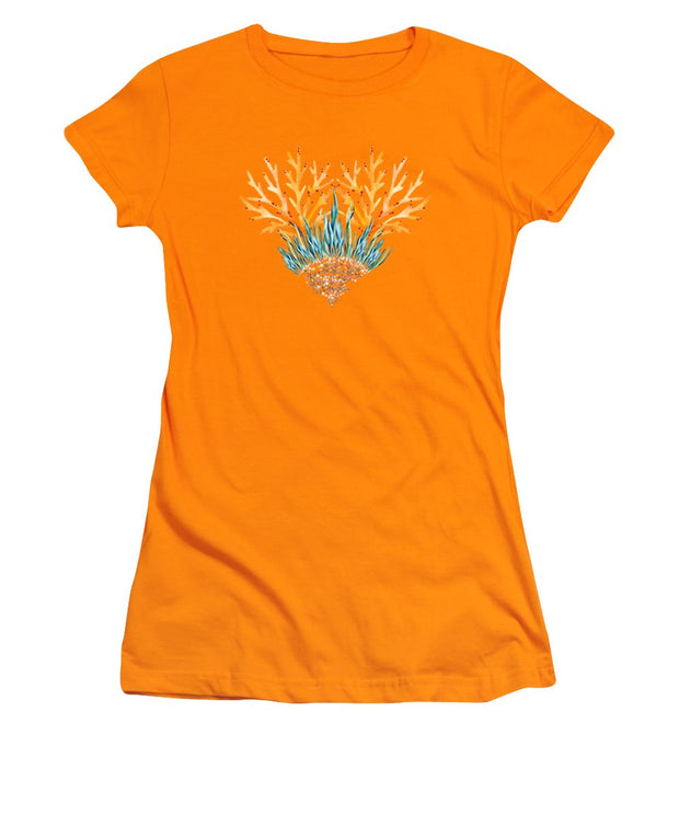Orange Coral Heart - Women's T-Shirt (Athletic Fit)
