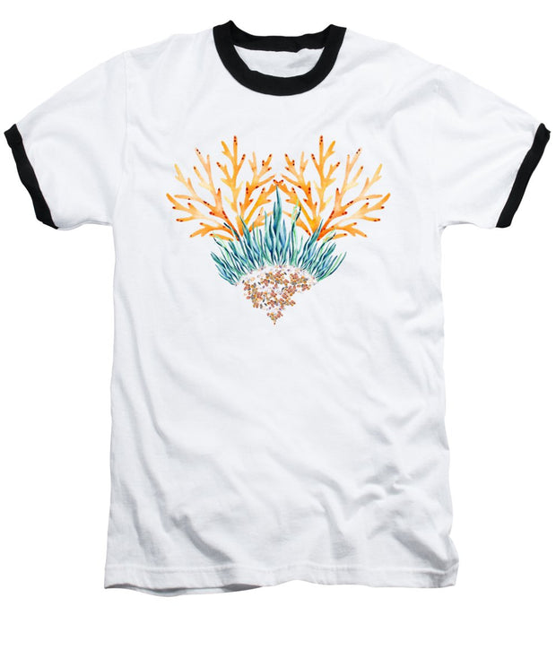 Orange Coral Heart - Baseball T-Shirt