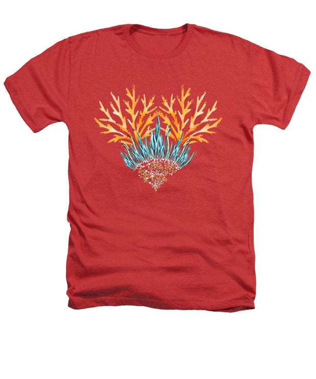 Orange Coral Heart - Heathers T-Shirt