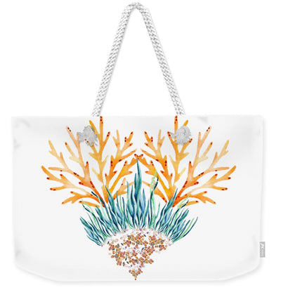Orange Coral Heart - Weekender Tote Bag