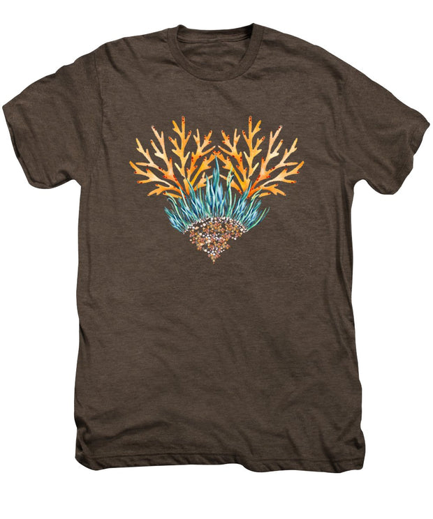 Orange Coral Heart - Men's Premium T-Shirt