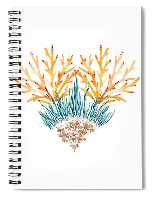 Orange Coral Heart - Spiral Notebook