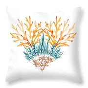 Orange Coral Heart - Throw Pillow