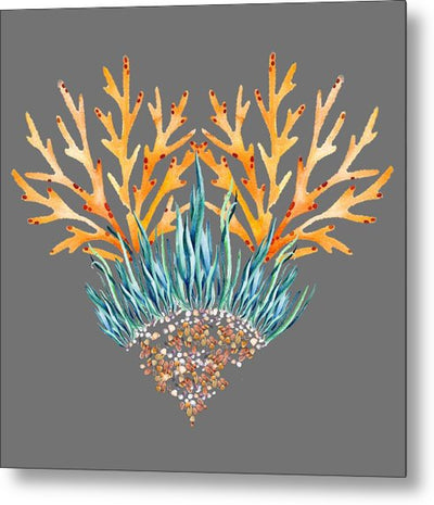 Orange Coral Heart - Metal Print