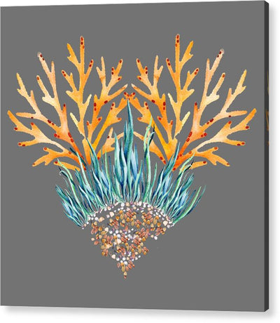 Orange Coral Heart - Acrylic Print