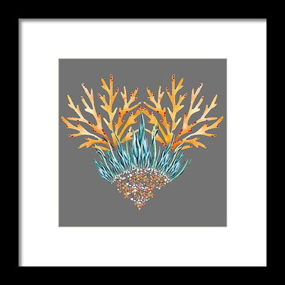 Orange Coral Heart - Framed Print
