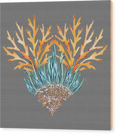 Orange Coral Heart - Wood Print