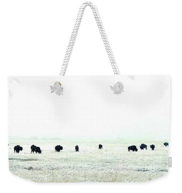 Snowy Bison Morning - Weekender Tote Bag