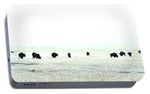 Snowy Bison Morning - Portable Battery Charger