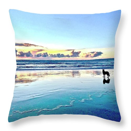 Teal Contemplation - Throw Pillow